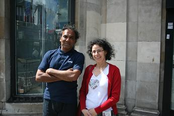 Jeff and Maria outside the centre on Seven Sisters Road